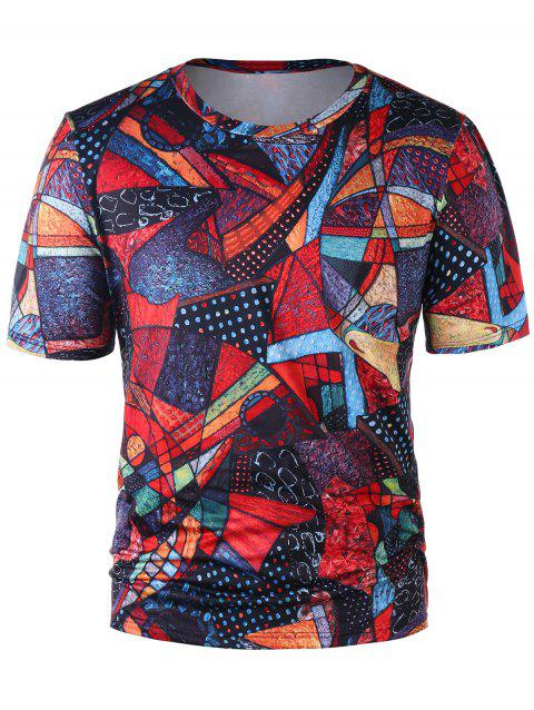 Short Sleeve Abstract Print Tee - COLORMIX XL