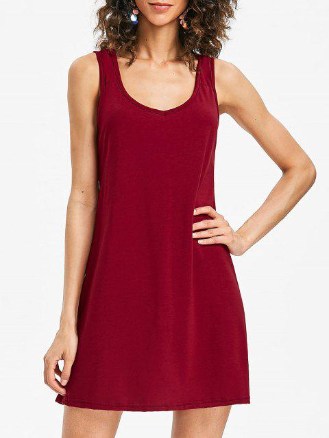 Mini Sleeveless Shift Dress - RED WINE M