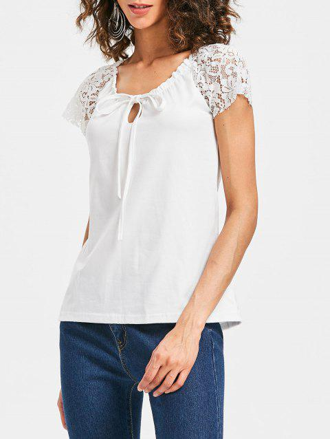 Scoop Neck Lace Insert T-shirt - WHITE XL
