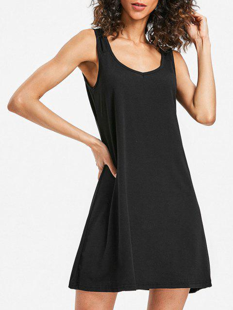 Mini Sleeveless Shift Dress - BLACK M