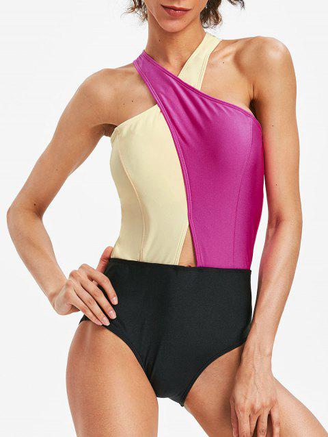 Backless Color Block Cross Swimsuit - ROSE RED L