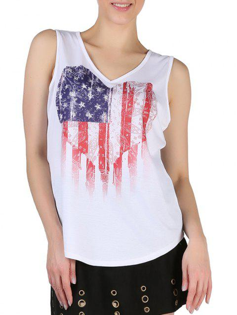 Queensfield American Flag Print V Neck Tank Top - WHITE L