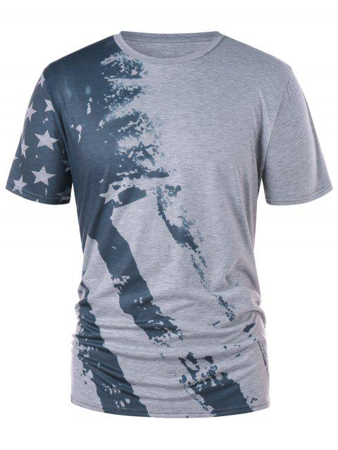 Color Block American Flag Print T-shirt - GRAY XL