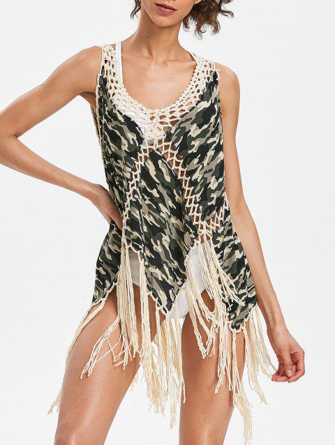 Fringed Camo Tank Cover Up - ACU CAMOUFLAGE ONE SIZE