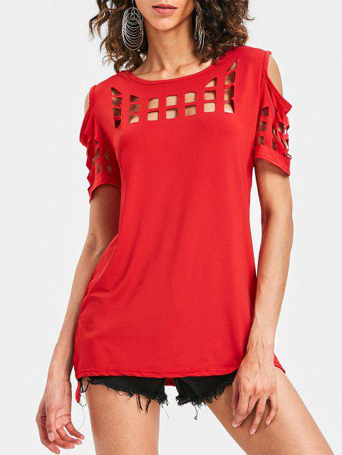 Cage Cut Out High Low Tee - LOVE RED L