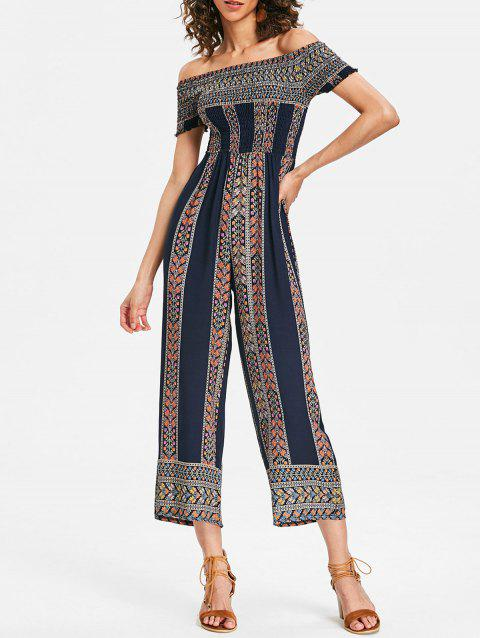 Off Shoulder Bohemian Jumpsuit - BLACK L