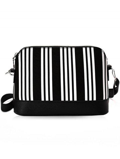 PU Leather Color Block Chic Crossbody Bag - NATURAL BLACK