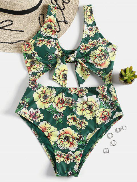 One Piece Floral Cut Out Swimwear - MEDIUM SEA GREEN S