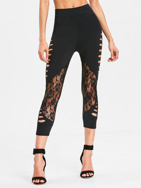 Ladder Shredding Lace Panel Leggings - BLACK S