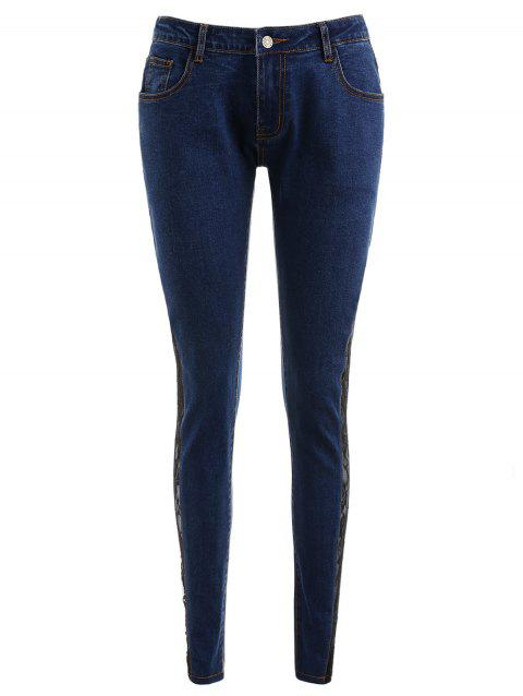 Flower Lace Insert Low Waist Jeans - DENIM DARK BLUE XL