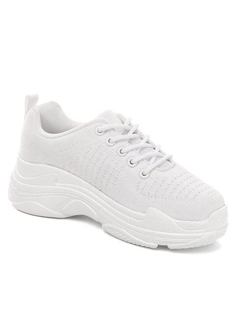 Lanbaoli Lightweight Lace Up Outdoor Basic Gym Sneakers - WHITE 36