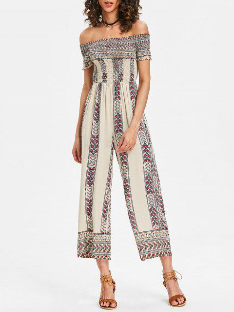 Off Shoulder Bohemian Jumpsuit - WHITE S
