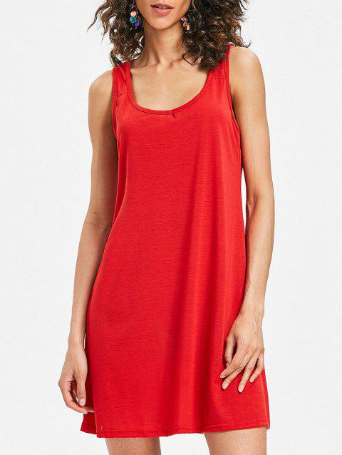 Mini Sleeveless Shift Dress - RED S