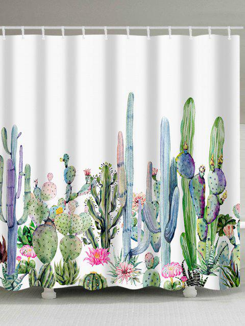 2019 Green Plants Cactus Flowers Print Shower Curtain In Multicolor