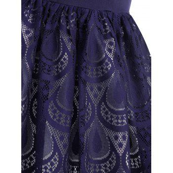Sheer Lace Peacock Feathers Vintage Dress - BLUE WHALE M