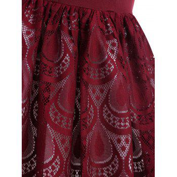 Sheer Lace Peacock Feathers Vintage Dress - RED WINE M