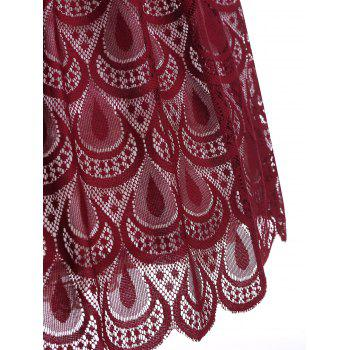 Sheer Lace Peacock Feathers Vintage Dress - RED WINE XL