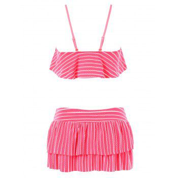 Flounce Bikini Bra with Skirt - DEEP PINK L