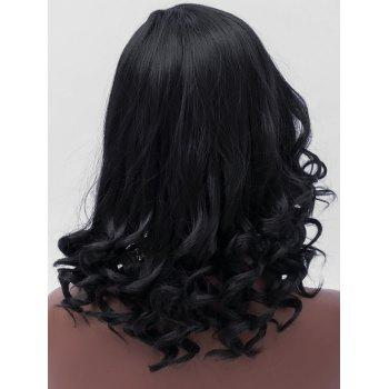 Medium Inclined Bang Wavy Heat Resistant Synthetic Wig - BLACK