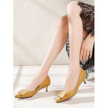 Lanbaoli PU Leather Pointed Toe Bowknot Decor Low Heel Pumps - YELLOW 38
