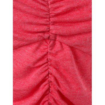 Lace Trim Empire Waist Ruched Tank Top - RED 2XL