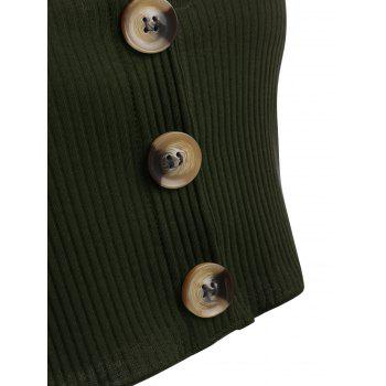 Button Up Cropped Tank Top - GREEN M