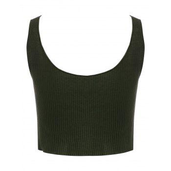Button Up Cropped Tank Top - GREEN XL