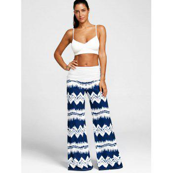 High Waisted Zigzag Print Wide Leg Pants - DARK SLATE BLUE M