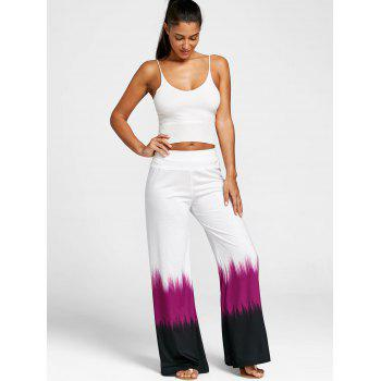 Wide Leg Tie Dye Casual Pants - WHITE L