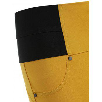 Skinny High-waisted Cigarette Pants - BEE YELLOW L