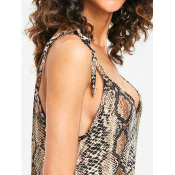 Bodycon Plunge Snakeskin Print Dress - LEOPARD M