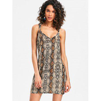 Bodycon Plunge Snakeskin Print Dress - LEOPARD XL