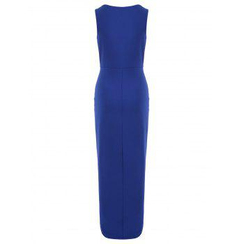 Plunge V-neck Long Draped Dress - ROYAL BLUE S