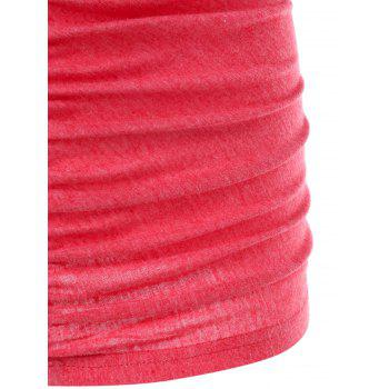 Lace Trim Empire Waist Ruched Tank Top - RED L