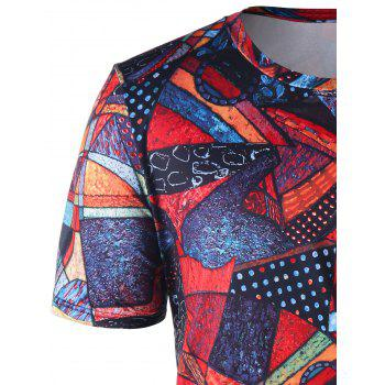 Short Sleeve Abstract Print Tee - COLORMIX L