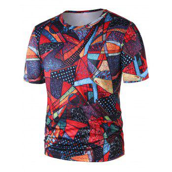 Short Sleeve Abstract Print Tee - COLORMIX 2XL