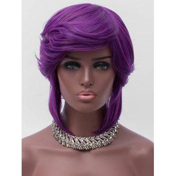 Short Oblique Bang Layered Straight Party Synthetic Wig - PURPLE JAM