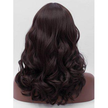 Long Middle Part Wavy Synthetic Party Wig - DEEP BROWN