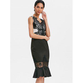 Crochet Lace Sleeveless Mermaid Dress - BLACK L