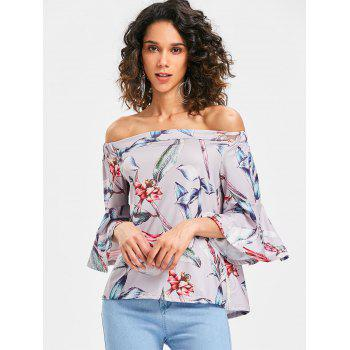 Flare Sleeve Floral Printed Blouse - multicolor S