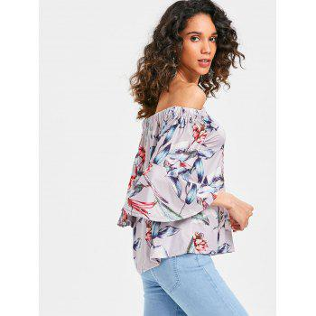 Flare Sleeve Floral Printed Blouse - multicolor L