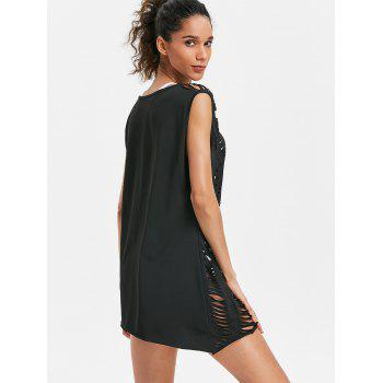 Openwork Beach Tank Cover Up - BLACK ONE SIZE