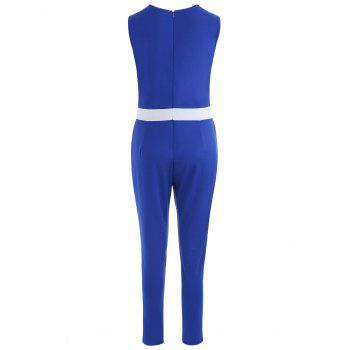 Color Block V Neck Jumpsuit - BLUE S
