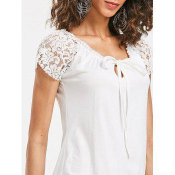 Scoop Neck Lace Insert T-shirt - WHITE S