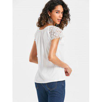 Scoop Neck Lace Insert T-shirt - WHITE 2XL