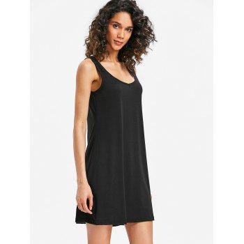 Mini Sleeveless Shift Dress - BLACK S