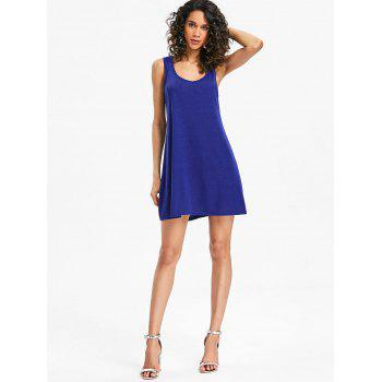 Mini Sleeveless Shift Dress - SAPPHIRE BLUE 2XL