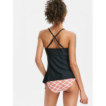 Cross Back Tankini with Print - BLACK M