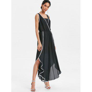Contrast Trim High Slit Palazzo Jumpsuit - BLACK M