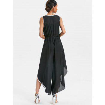 Contrast Trim High Slit Palazzo Jumpsuit - BLACK L